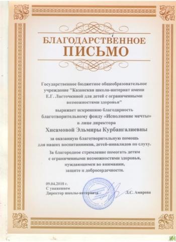 Благодарственное письмо от Казанской школы- интерната им. Е. Г. Ласточкиной для детей с ОВЗ