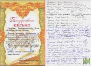 """Благодарственное письмо от """"Солнечного круга"""""""